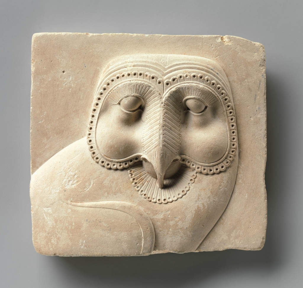 Relief plaque with face of an owl, made in Egypt, 400-30 BC.jpg