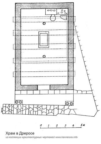 Храм в Дреросе, план