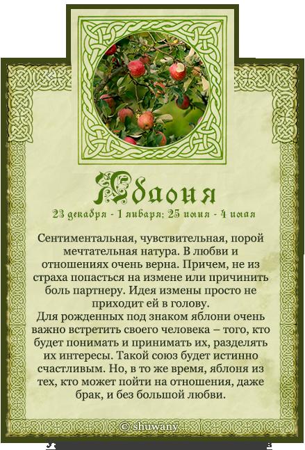 Названия знаков связаны с деревьями, поэтому другое его название — гороскоп деревьев.