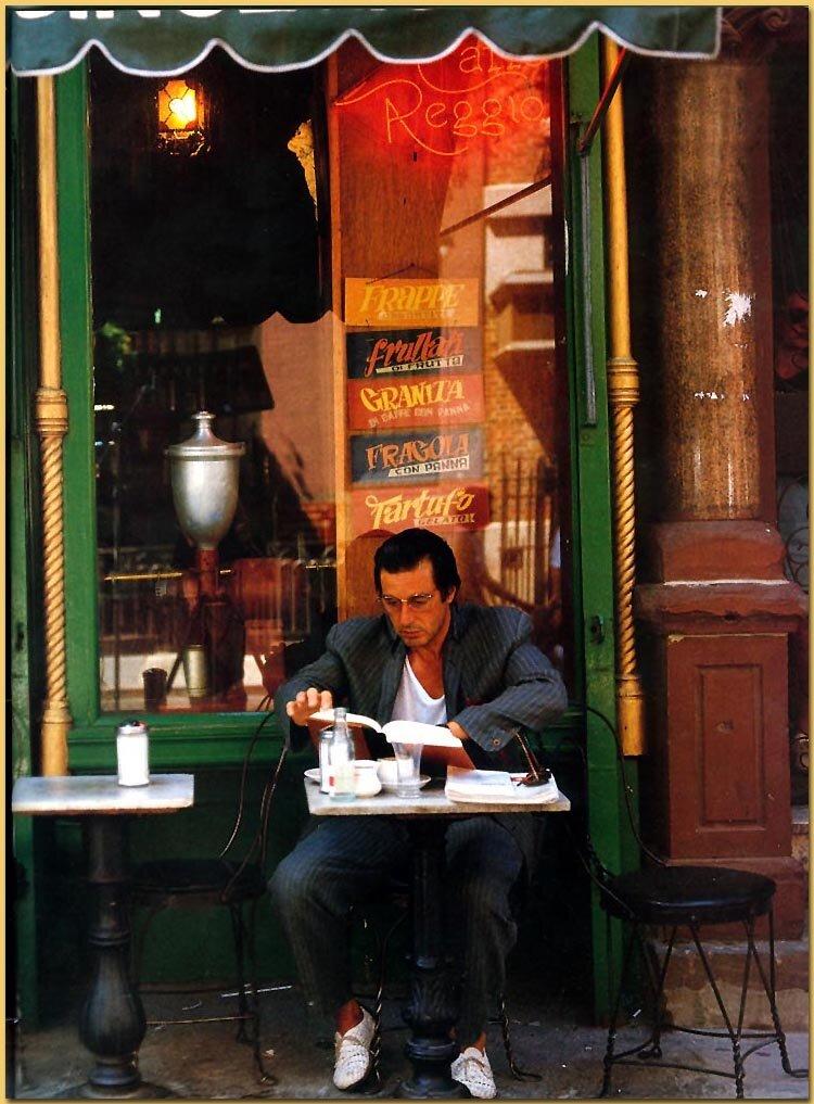 Al Pacino no Caffe Reggio, Greenwich Village, NY, 1989