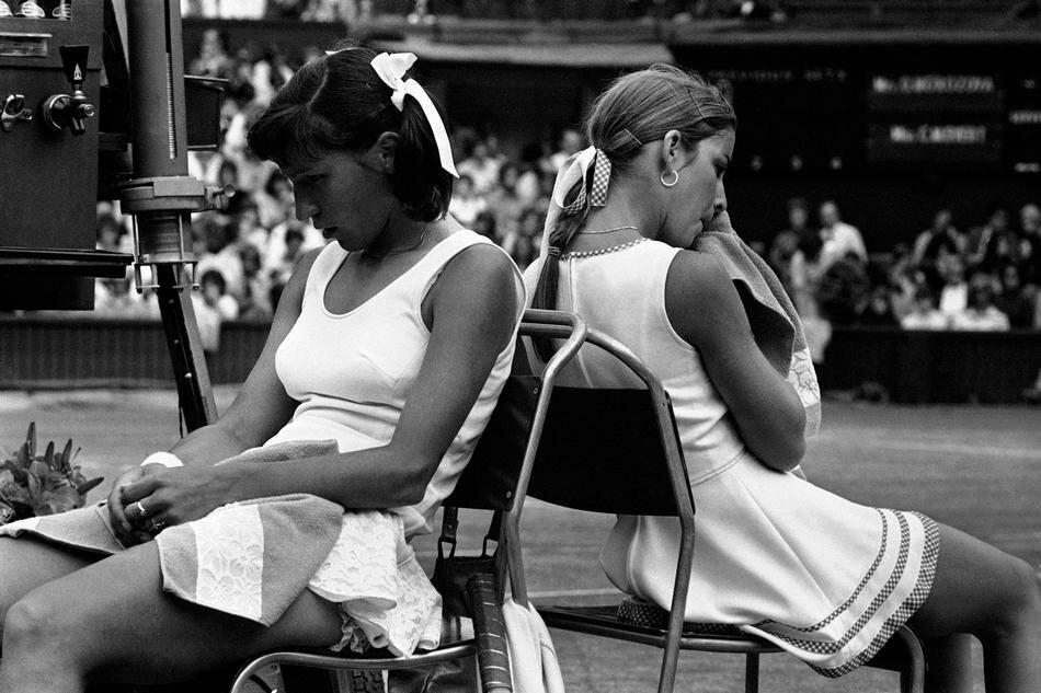 Wimbledon Tennis Olga Morozova (left) and Chris Evert 1974
