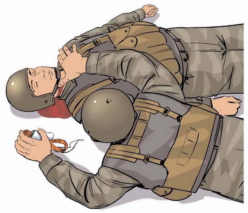 Ранение в шею - Прижать пальцем рану на шее через воротник одежды или непосредственно рану