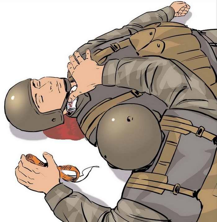 Ранение в шею - Подложить под палец бинт, освобожденный от упаковки