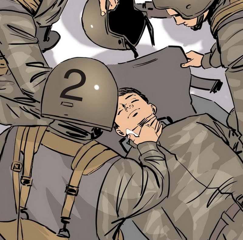 Действия бойцов во время осмотра бойца с ранением шеи