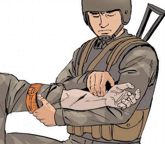 Контроль правильности наложения жгута на раненую руку
