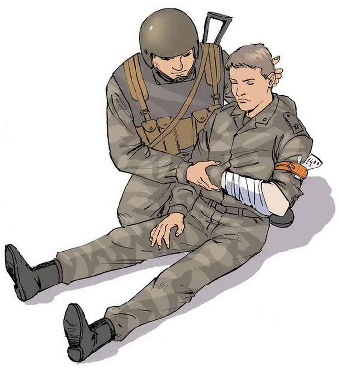 Ранение в руку - Вложить записку о времени наложения жгута