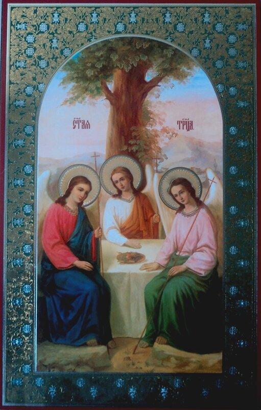 Праздники.  Икона на оргалите 1 11х22 двойное тиснение.  Троица.  Артикул: 2010061Т.