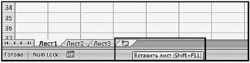 Работа с листами книги в MS Excel 2007