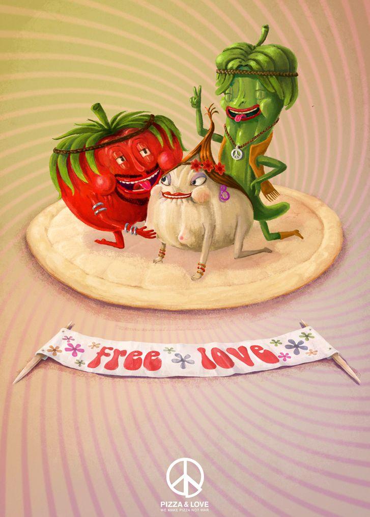 креативная реклама пиццы Pizza-Love