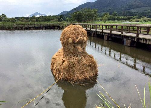Фигуры из соломы в японских полях