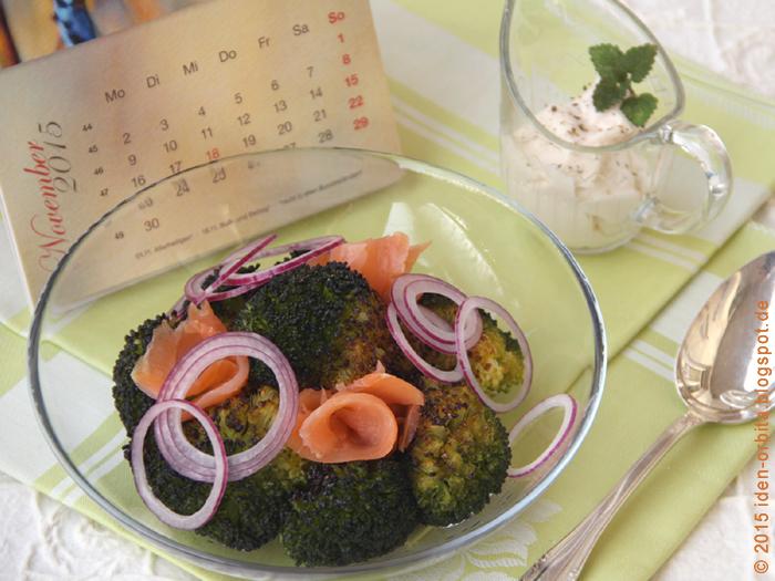 Салат из запеченной брокколи с копченым лососем
