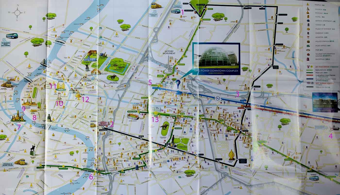 Карта достопримечательностей Бангкока