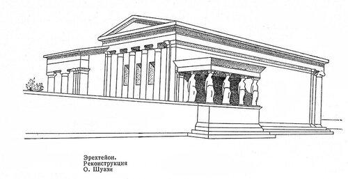 Эрехтейон на Афинском акрополе, реконструкция по Шуази