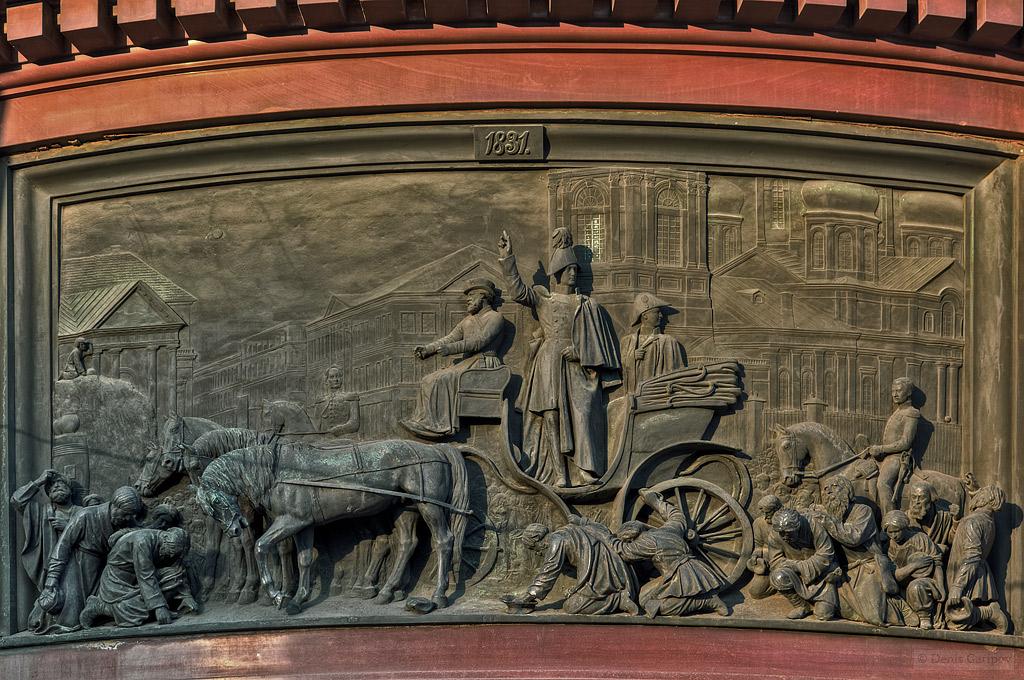 Исаакиевская площадь, барельеф, памятник Николаю Первому, Сенная площадь, Успенская церковь, холерный бунт 1831 года на Сенной площади