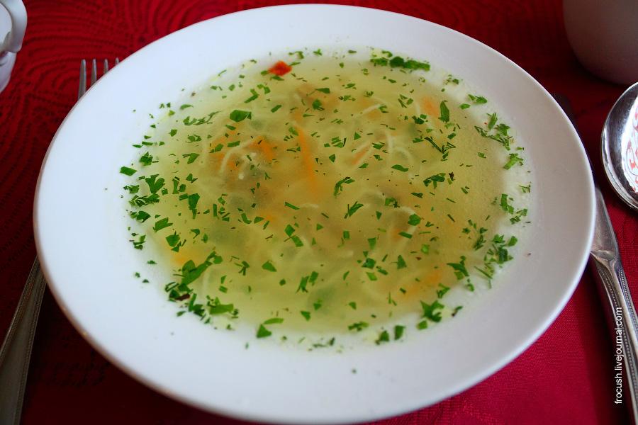 Суп лапша с грибами и зеленью