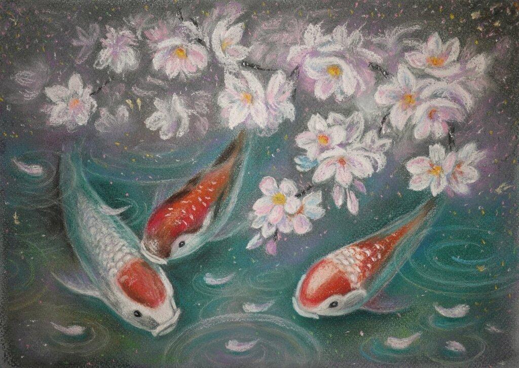 Вышивка рыба в пруду 39