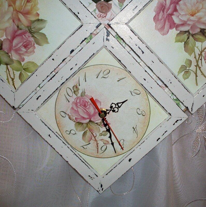 """мастер класс часы """"Шпалера роз"""""""
