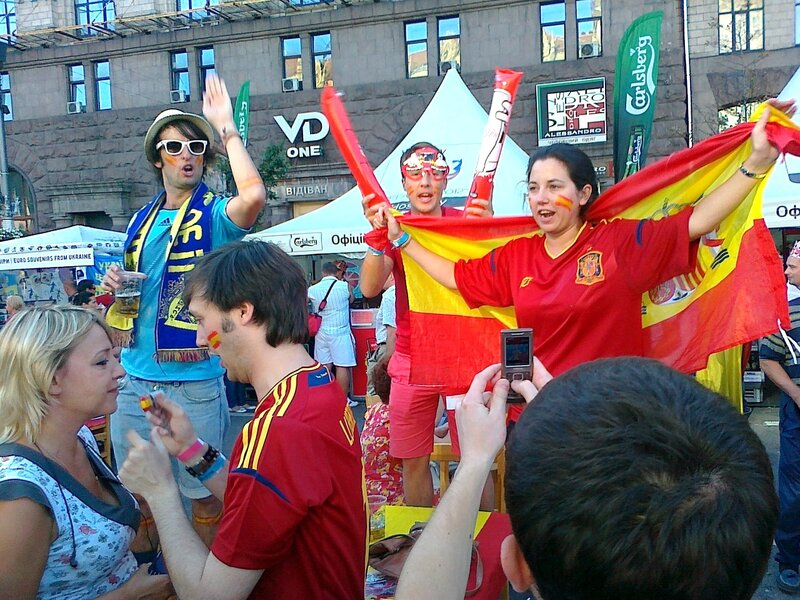 Фаны Испании на Крещатике