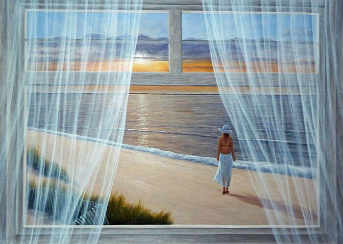 Скачать обои пейзаж, море, утренняя прогулка, Diana Romanello 800x600.