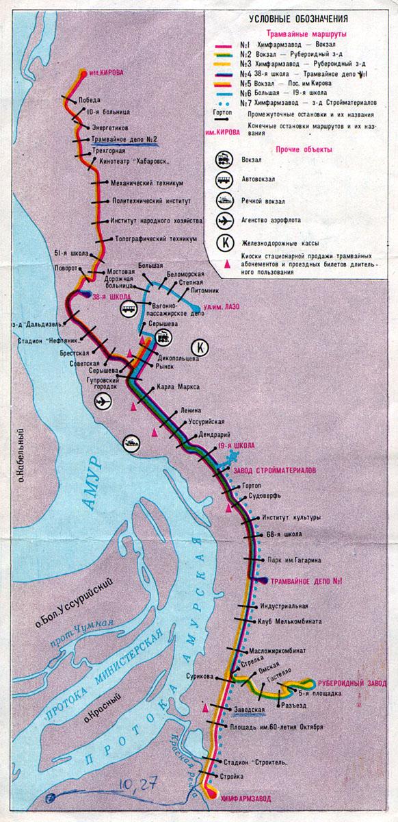 Схема маршрутов с остановками.