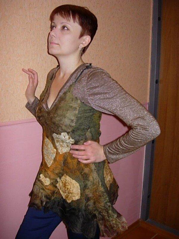 Это мой первый опыт валяния одежды-нуно, и вообще, первый опыт...
