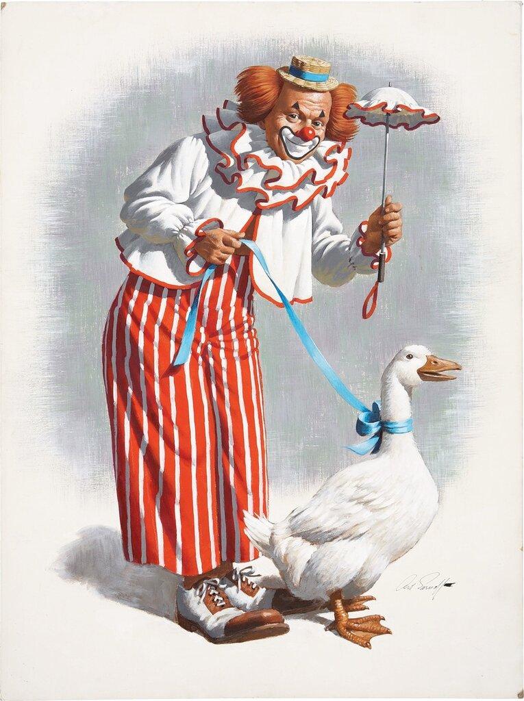 Arthur Saron Sarnoff ~ Clown with a Goose
