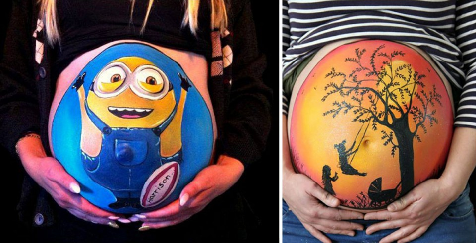 Симпатичные рисунки на животах беременных девушек
