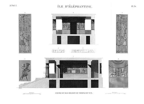 Древнеегипетский город Элефантина, южный храм, чертежи разрезов