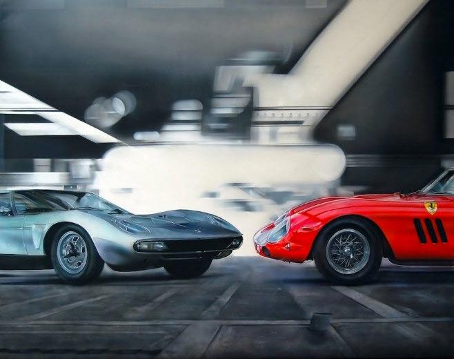 Детализация игрушечных автомобилей в живописи
