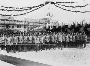 Подразделение  3-го стрелкового полка в день закладки новой казармы полка.