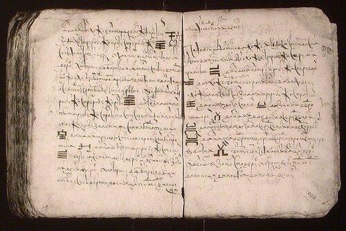 Внешний вид страниц писцовой книги, с записями о Белгороде