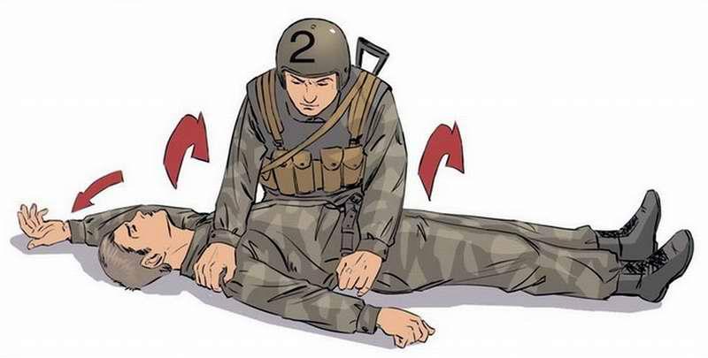 Действия при коме - Встать на два колена и завести руку раненого за его голову