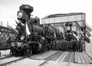 Открытие железнодорожного моста через Даугаву. 1914