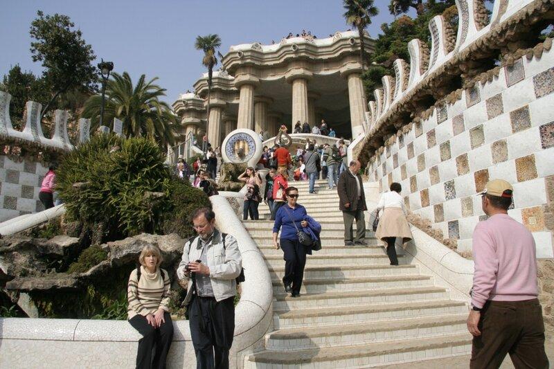 Парадная лестница и Зал ста колонн, Парк Гуэля