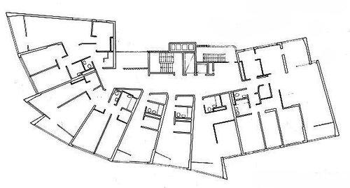 Квартиры в Люцерне, архитектор Алвар Аалто, план 2-ого этажа