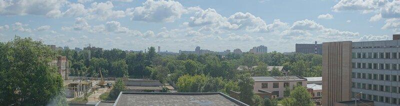 Вид на Королёв с 6-го этажа 1-го корпуса Московского Государственного Университета Леса