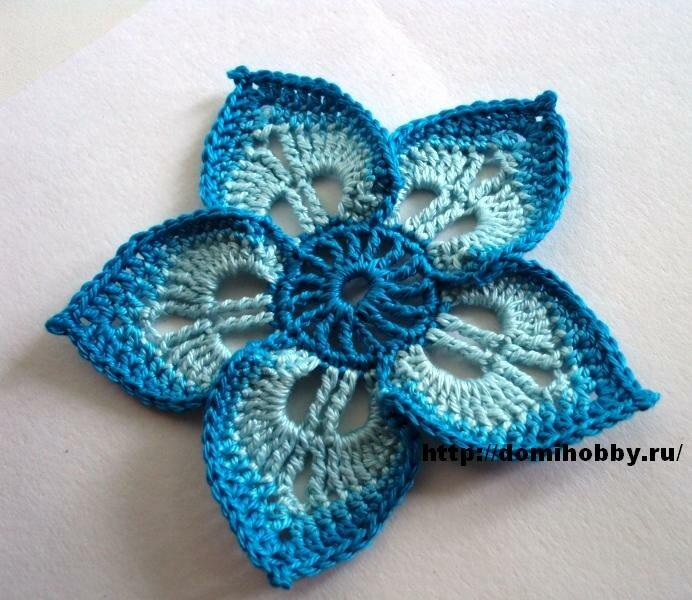 """Для вязания цветка вам понадобится: пряжа  """"Нарцисс """" мерсеризованный хлопок трех тонов темно-бирюзовый, бирюзовый и..."""