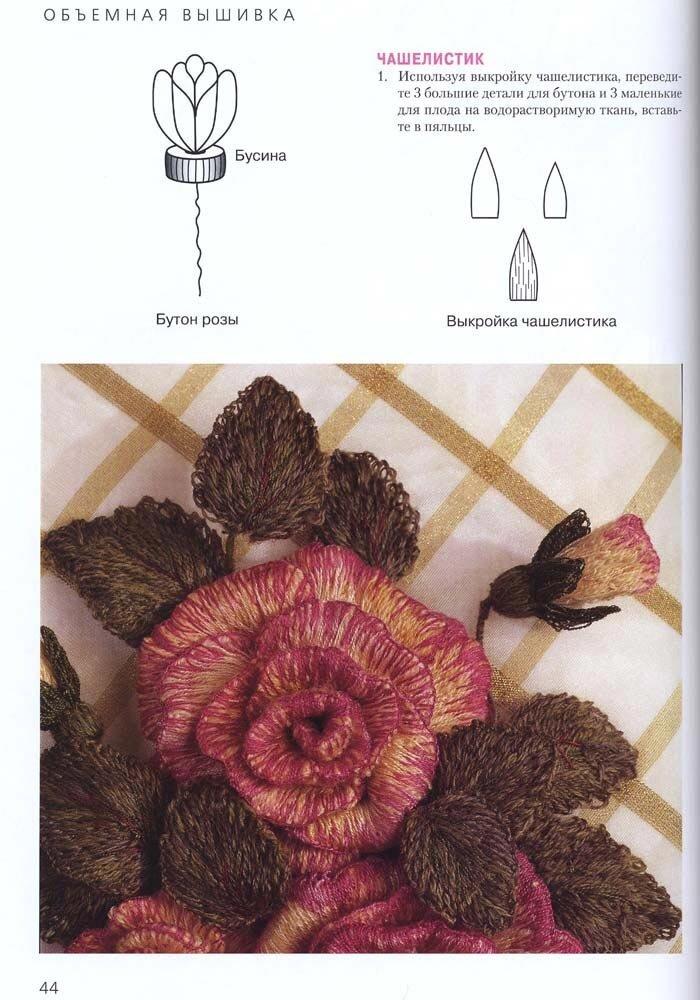 Как вышить объемную розу