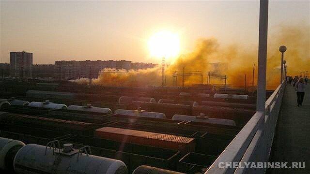 В Челябинске утром горел вагон с бромом.