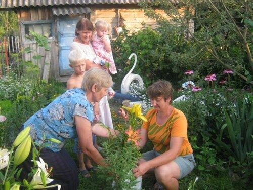 Цветоводы Валентина Ивановна Филина и Любовь Алексеевна Амелькина обмениваются не только опытом, но и цветами.