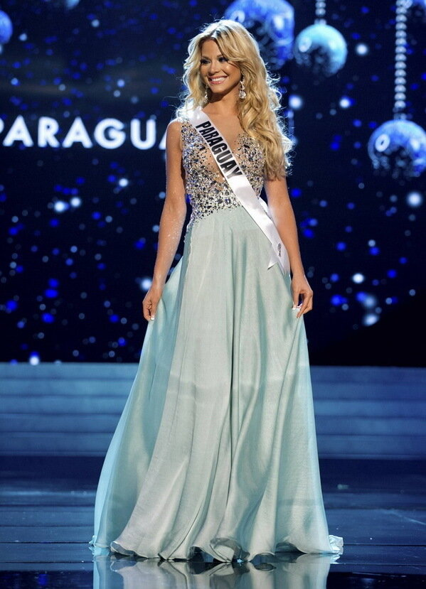 ���� ����� ���� �������� 2012... Miss Paraguay 2012 Eckert competes in an evening gown of her choice during the Evening Gown Competition of the 2012 Miss Universe Presentation Show in Las Vegas