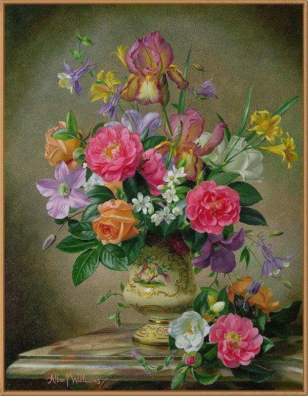 Пионы, ирисы, розы в керамической вазе (Peonies, irises, roses in ceramic vase)_х.,м._Частное собрание.jpg