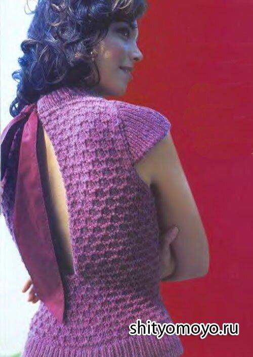 Бесплатные модели вязания спицами со схемами: кофточка с бантом на спине