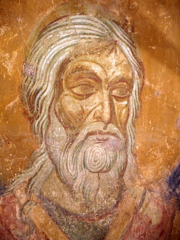 Лик Святого. Фреска Спасо-Преображенского храма в Полоцке. XII век.