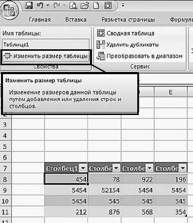 Рис. 5.6. Вкладка «Конструктор». Кнопка «Изменить размер таблицы»