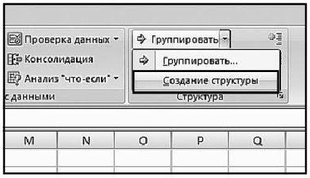 Рис. 5.102. Вкладка «Данные». Меню кнопки «Группировать». Пункт «Создание структуры»
