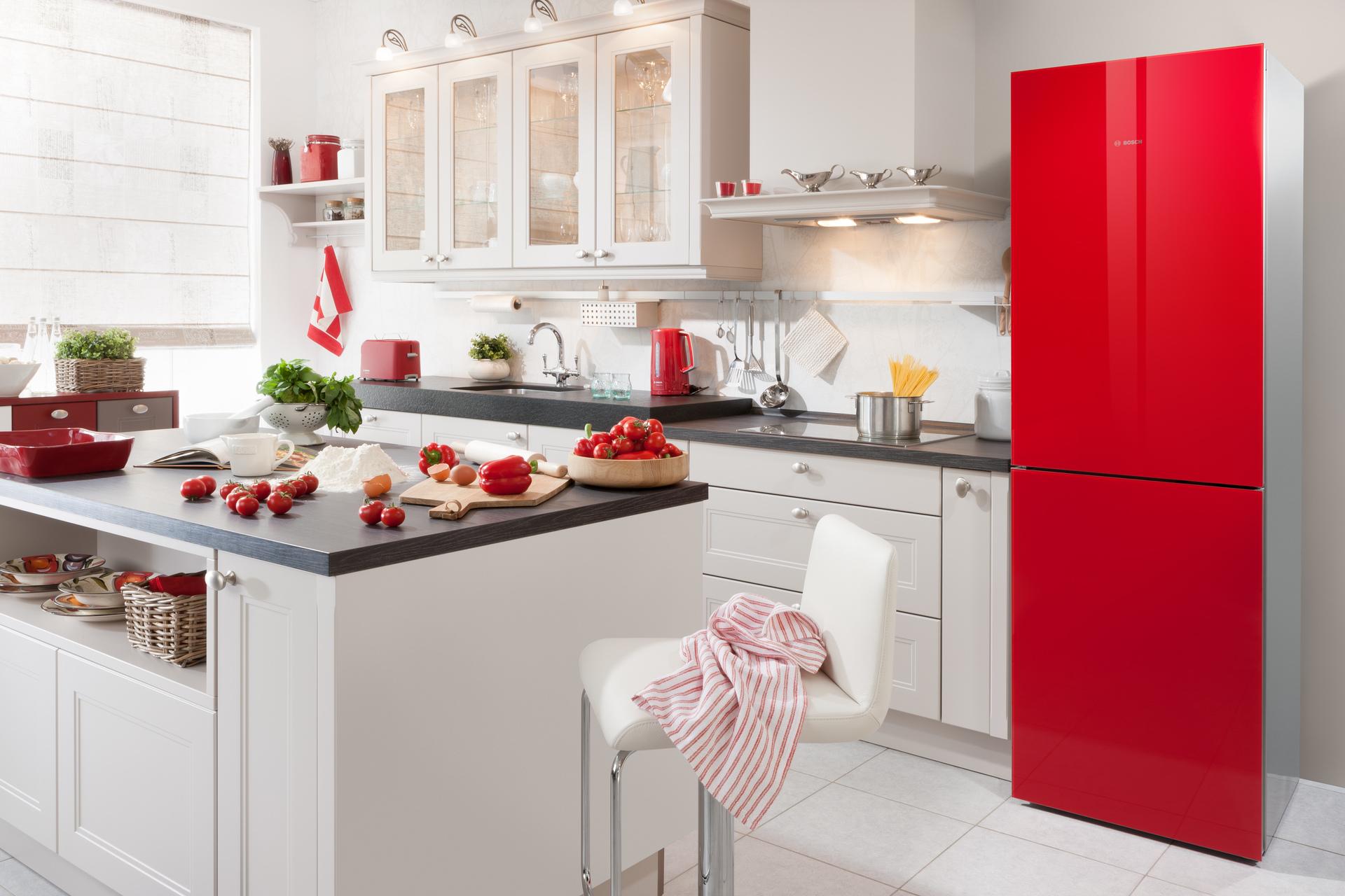 Красные холодильники из стекла - BOSCH в Краснодаре - официальный лицензионный товар, интернет-магазин с гарантией