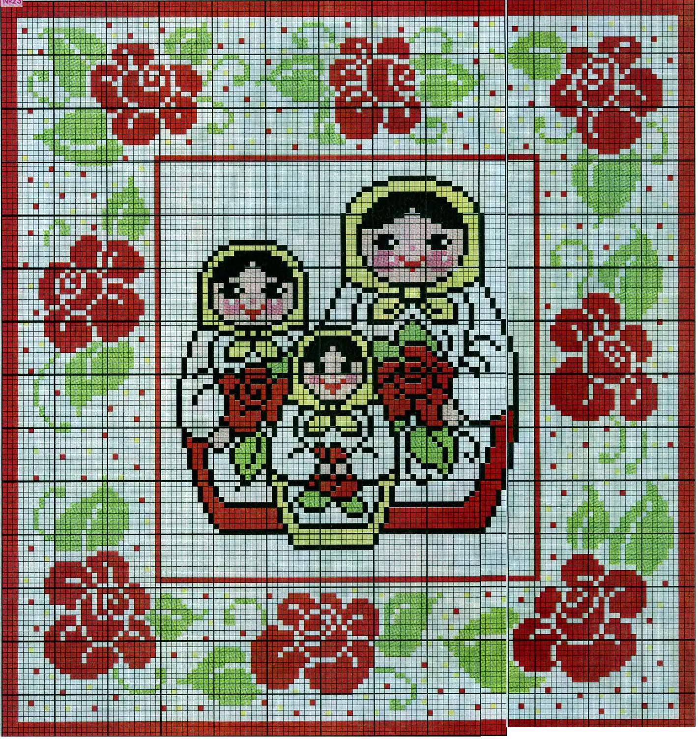 Простая и бесплатная схема вышивки матрешек крестом