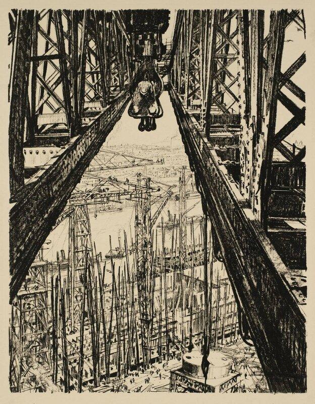 Building Ships: A Shipyard Seen from a Big Crane circa 1917 by Sir Muirhead Bone 1876-1953