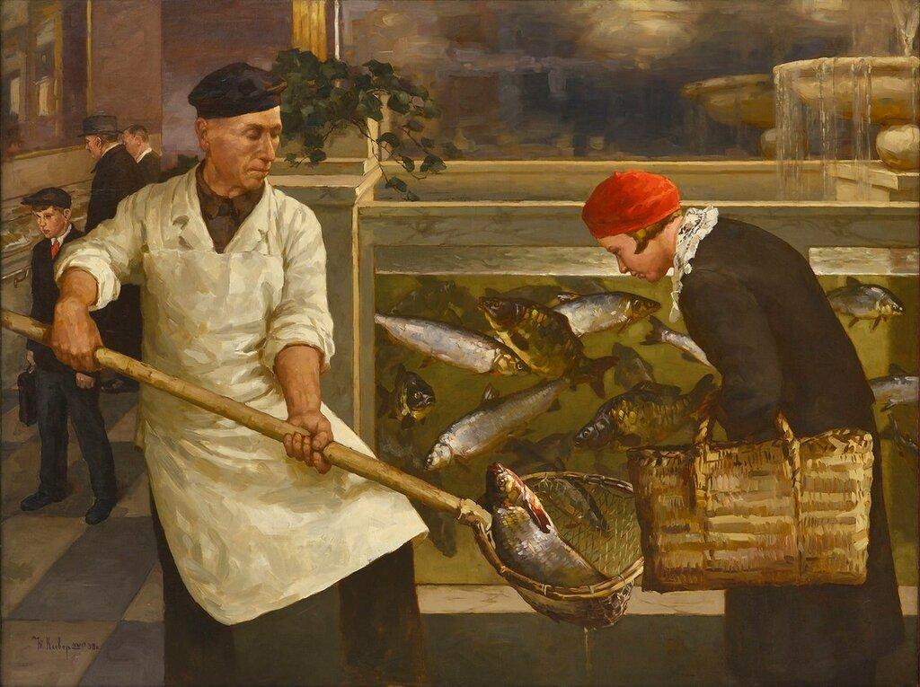 В рыбном магазине. Ю. Ю. Клевер (младший) 1938.jpg